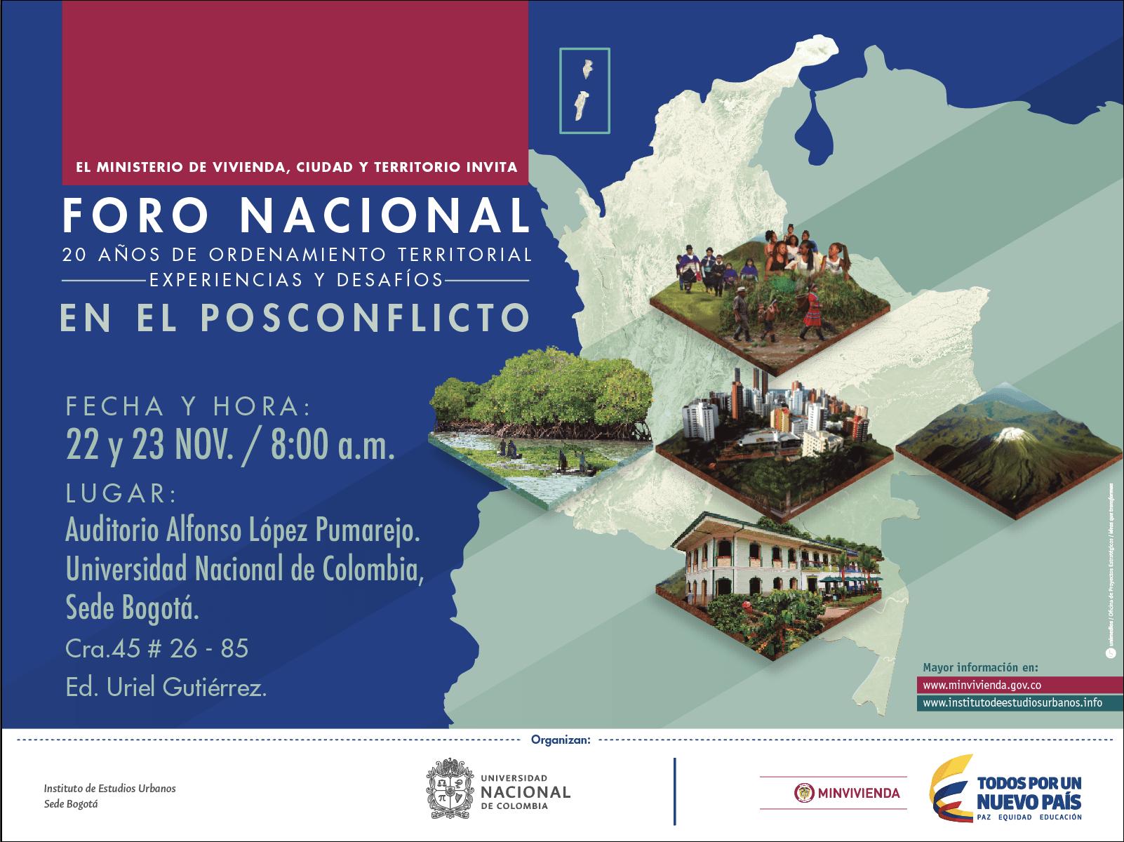 MinVivienda y el IEU invitan al Foro Nacional  20 años de Ordenamiento Territorial -Experiencias y Desafíos-  en el Posconflicto