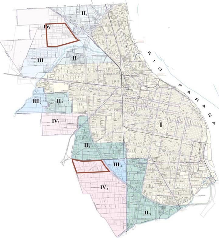 Ubicación de nuevos desarrollos en la clasificación urbanística del suelo de Rosario, Argentina.