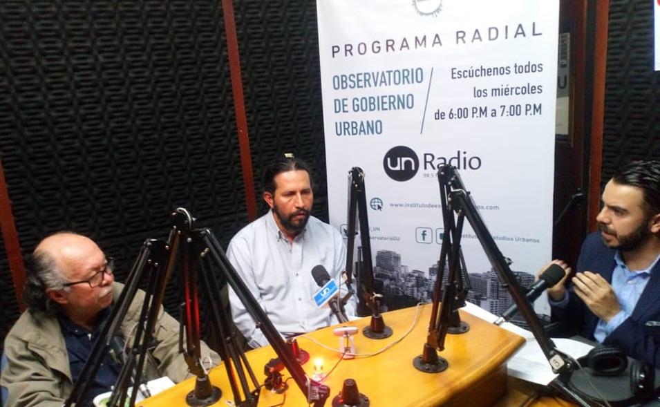 Fabio Jurado, Erwin García y Miguel Silva Moyano / Observatorio de Gobierno Urbano por 98.5 fm UN Radio