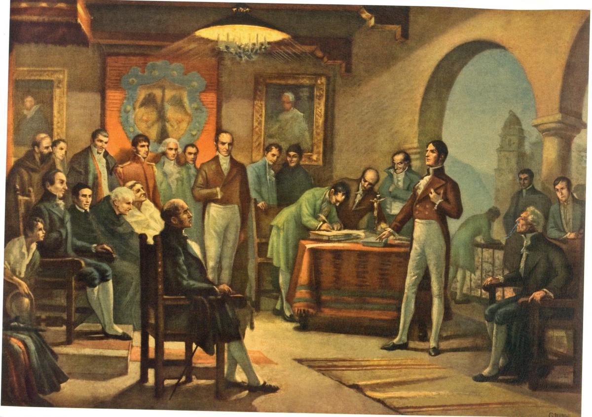 Firma del acta de independencia. Óleo de Coroliano Leudo / Tomado de Archivo de Bogotá