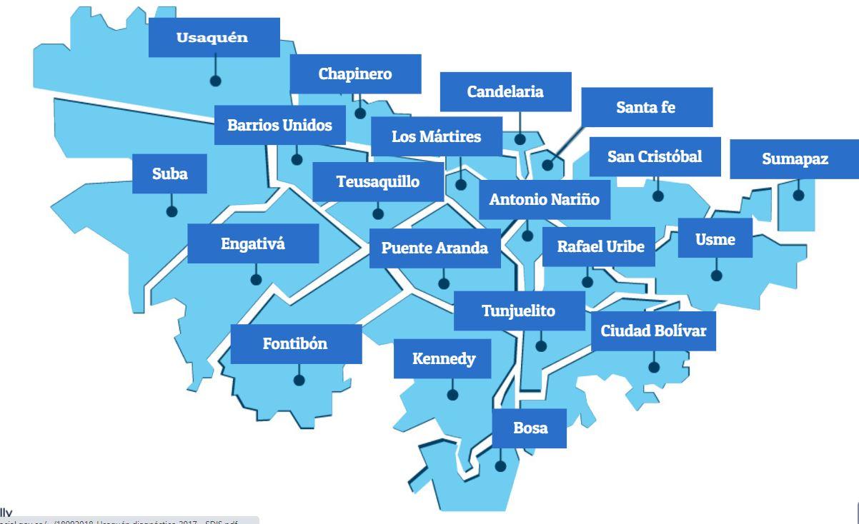 División político administrativa de Bogotá: 20 localidades