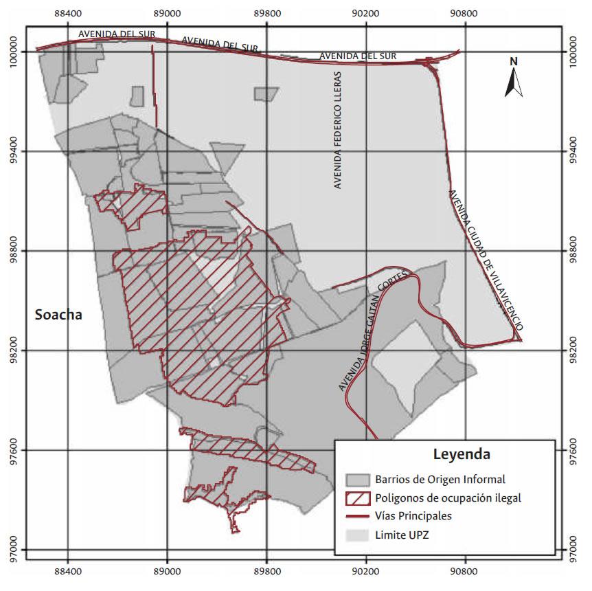 Mapa Zona de estudio, Barrios de origen informal de la UPZ 69