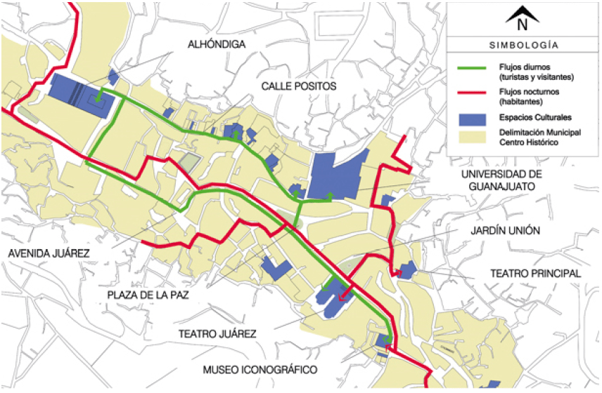 Mapa de los flujos diurnos y nocturnos del ocio cultural en Guanajuato, México.