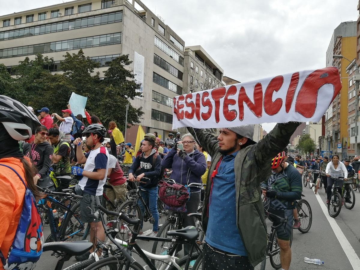 Manifestaciones en Bogotá en el marco del paro nacional 21N / Foto Paola Medellín